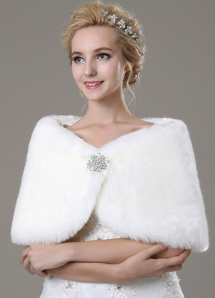 Milanoo Faux Fur Bridal Shawl with Rhinestones Decor