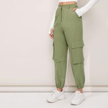 Flap Pocket Solid Cargo Pants