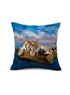 Lifelike Tiger and Blue Ocean Print Throw Pillow Case