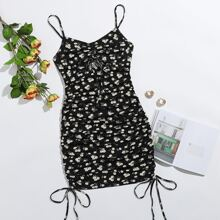 Drawstring Knot Front Daisy Floral Ruched Slip Dress