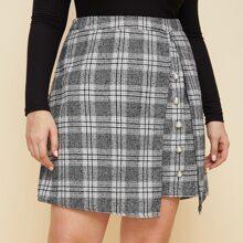Plus Button Front Wrap Detail Skirt