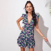Tied Backless Ruffle Armhole Layered Hem Floral Dress