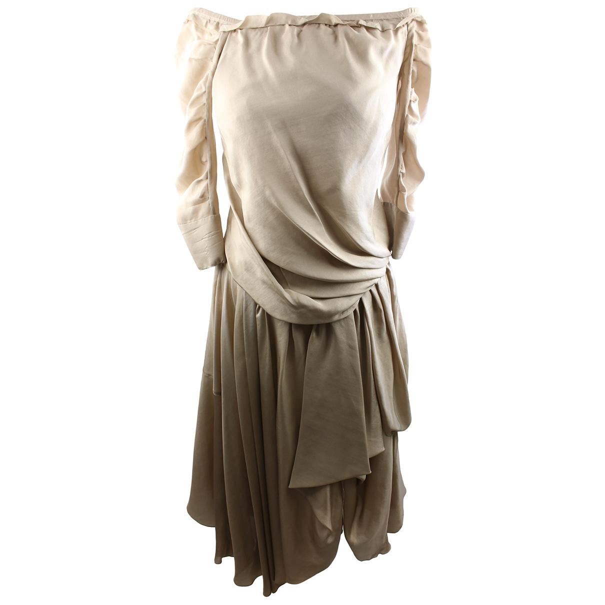 Louis Vuitton \N Kleid in  Beige Seide
