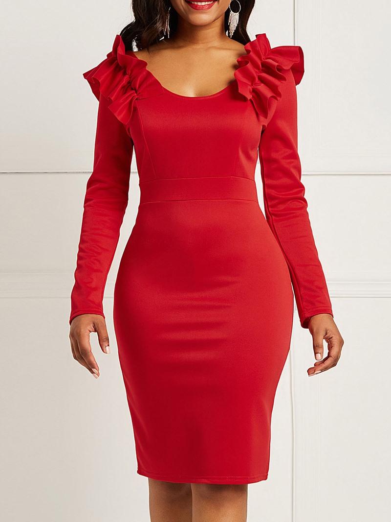 Ericdress Long Sleeves Plain Backless Women's Dress