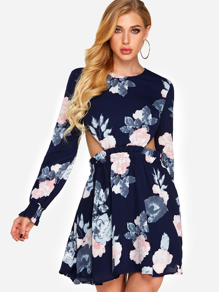 Yoins Navy Backless Design Random Floral Print Round Neck Long Sleeves Dress