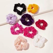 9pcs Simple Velvet Scrunchie
