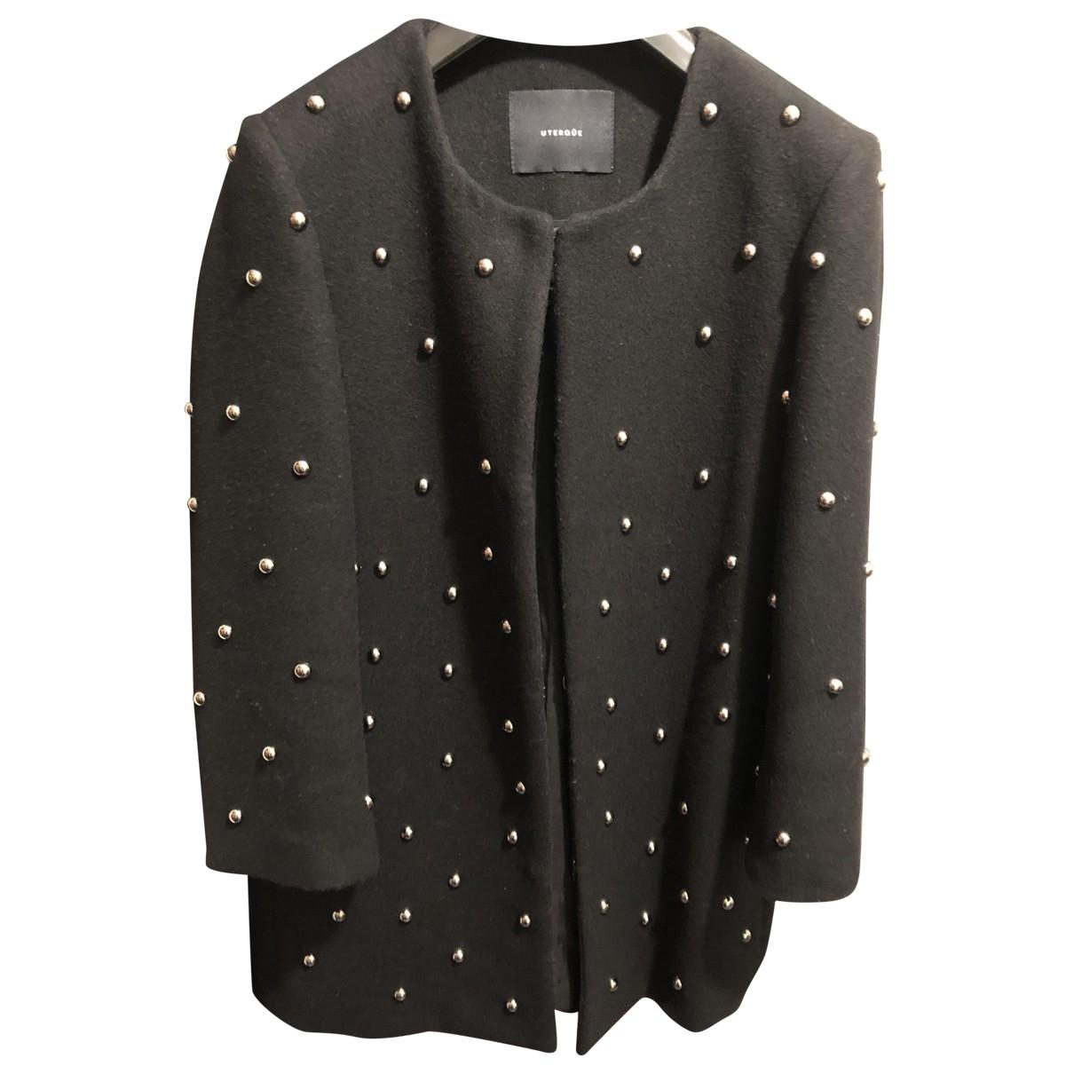 Uterque - Manteau   pour femme en laine - noir