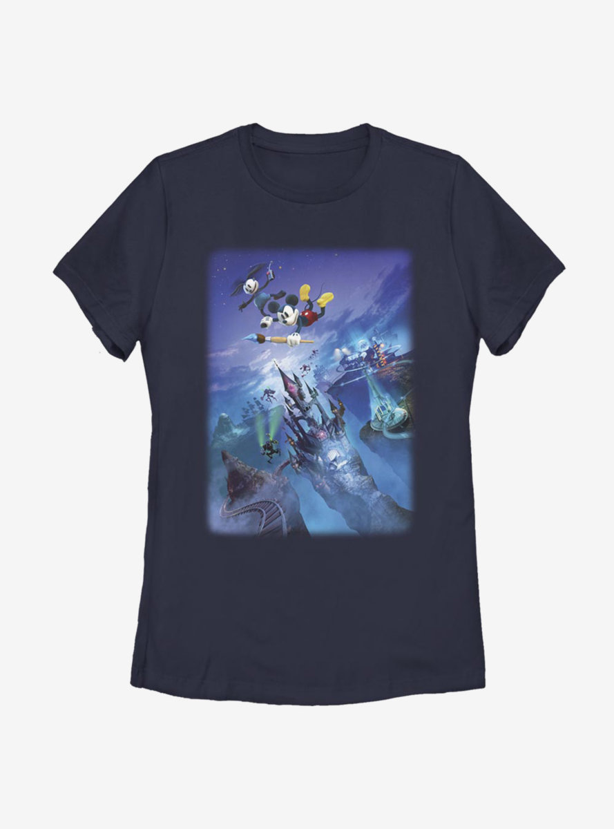 Disney Epic Mickey Castle Flight Womens T-Shirt