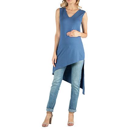 24/7 Comfort Apparel Sleeveless V Neck Long Asymmetric Top, 3x , Blue