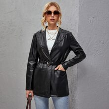 Single Button Belted PU Leather Blazer