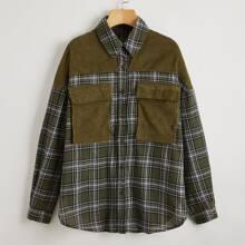 Camisa de tartan panel con bolsillo delantero con solapa con cuello