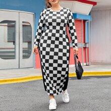 Plus Panel Sideseam Checker Dress