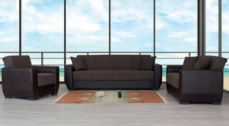 Primo Collection PRIMOSOFASET 3 PC Living Room Set with Sofa  Loveseat and Chair in Brown