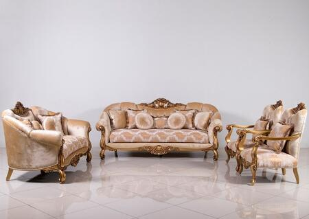Golden Knights Collection Luxury 3 Pieces Set with 1 Sofa + 1 Loveseat + 1 Chair  in Golden