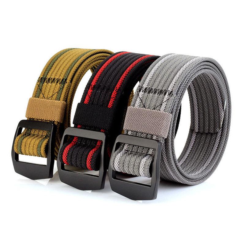 Mens Long Weave Canvas Elasticity Belt Outdoor Slider Buckle Durable Adjustable Ring Belt