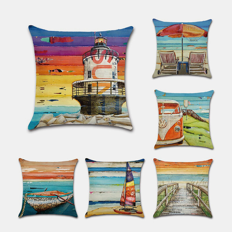 Beach Pillowcase Sailboat Lighthouse Car Chair Digital Printing Linen