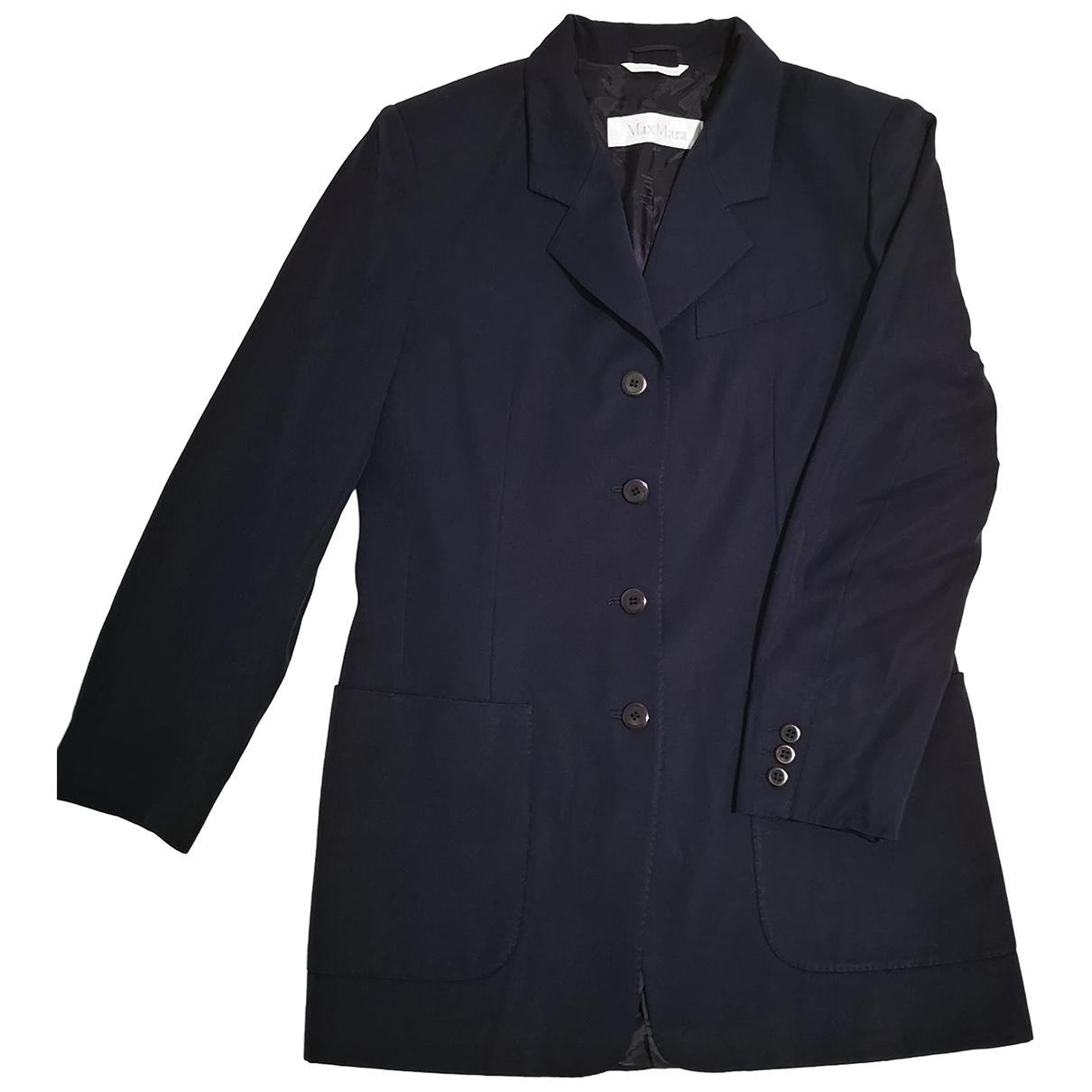 Max Mara Max Mara Atelier Jacke in  Blau Wolle