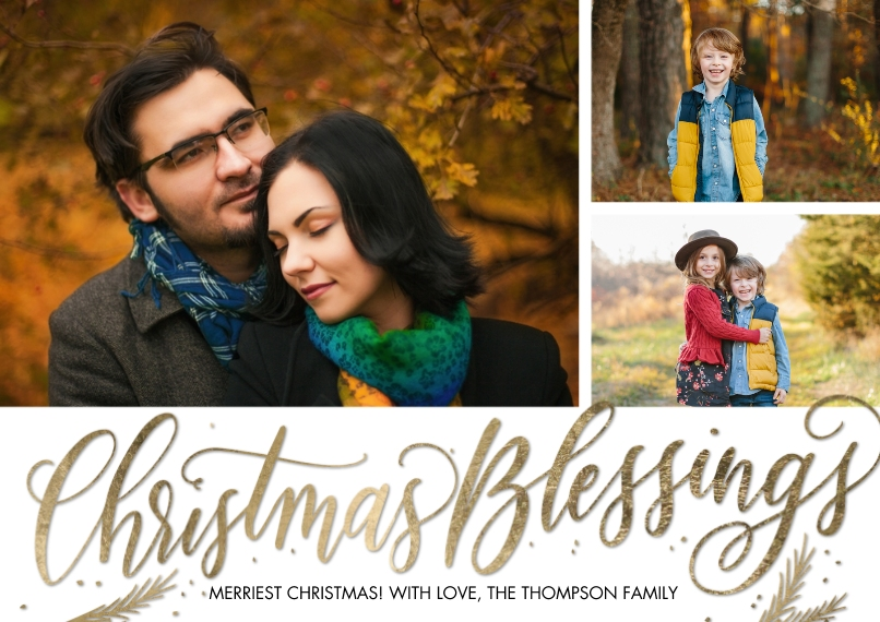 Christmas Photo Cards 5x7 Cards, Premium Cardstock 120lb with Scalloped Corners, Card & Stationery -Christmas Script Blessings by Tumbalina