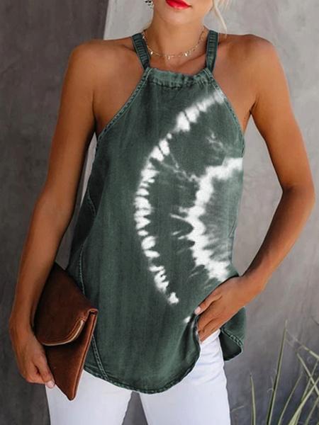 Milanoo Women Cami Top Dark Green Straps Neck Tie Dye Casual Polyester Camis