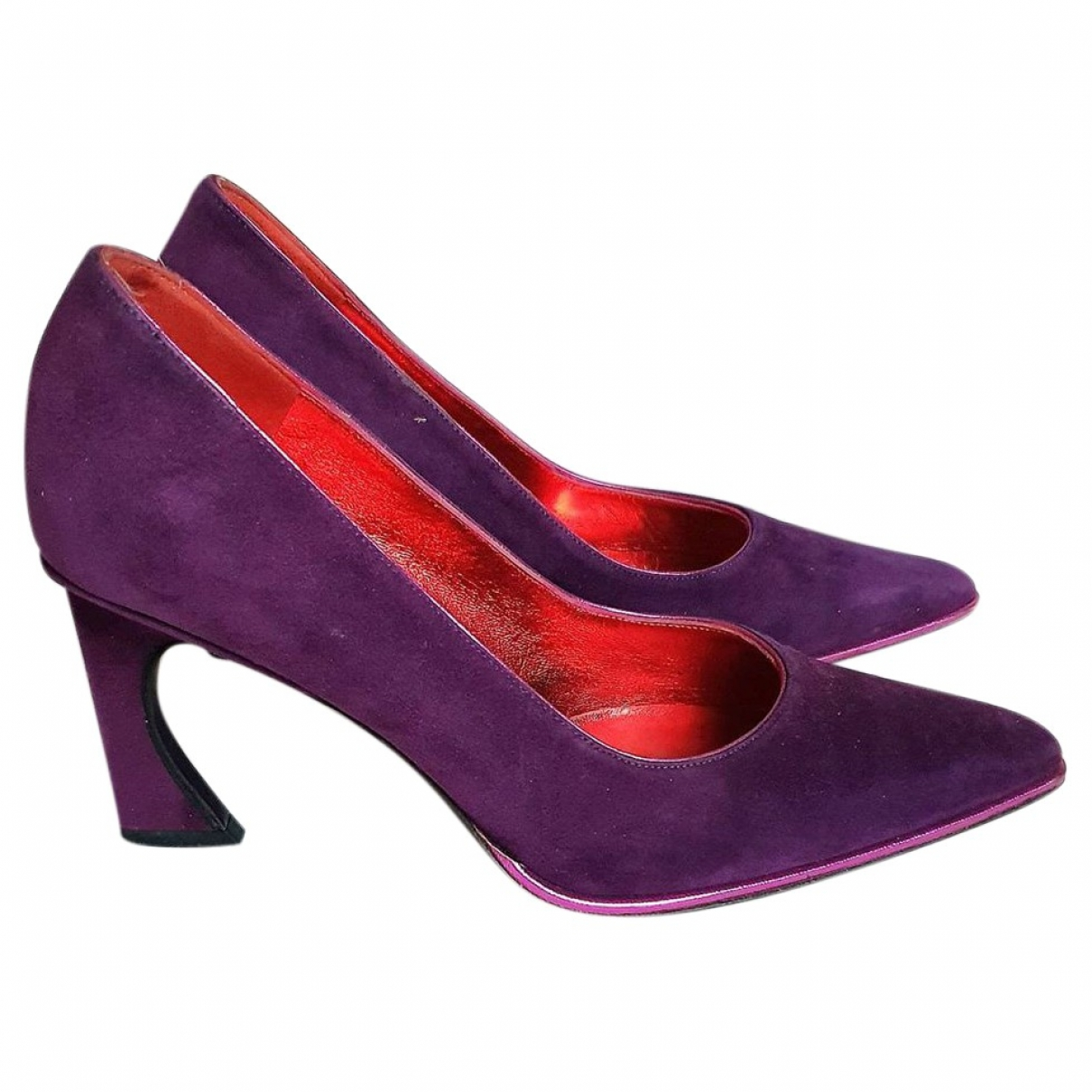 Fendi FFreedom Purple Suede Heels for Women 37.5 EU