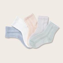 5pairs Toddler Girls Solid Socks