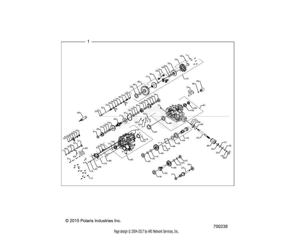 Polaris OEM 1333504 ASM-GEARCASE, MAIN, EBS | [INCL. ALL]