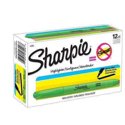 Sharpie@ Smear-Guard Encre Surligneur de Poche, 12/Paquet - Vert Flourescent