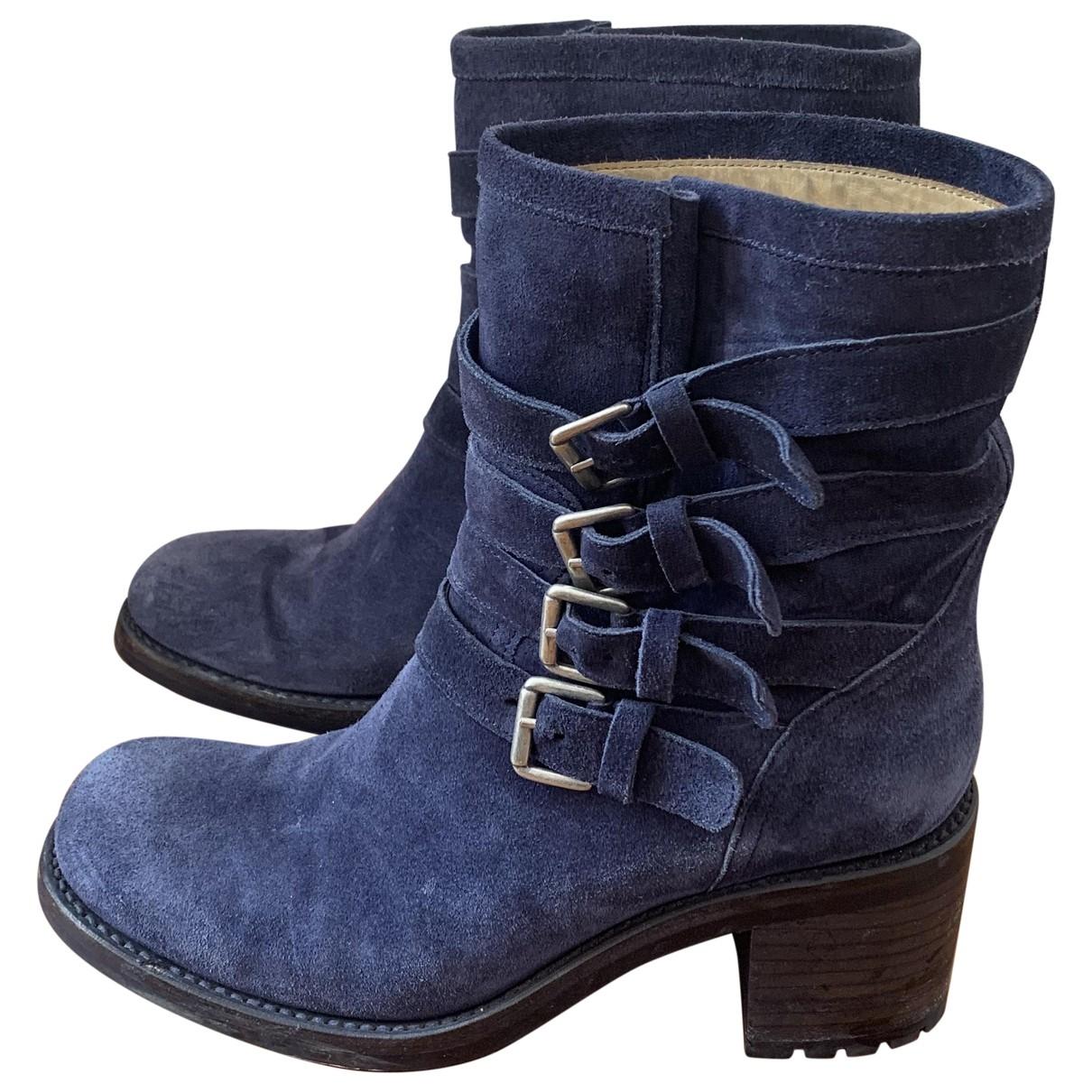 Free Lance - Boots   pour femme en suede - bleu