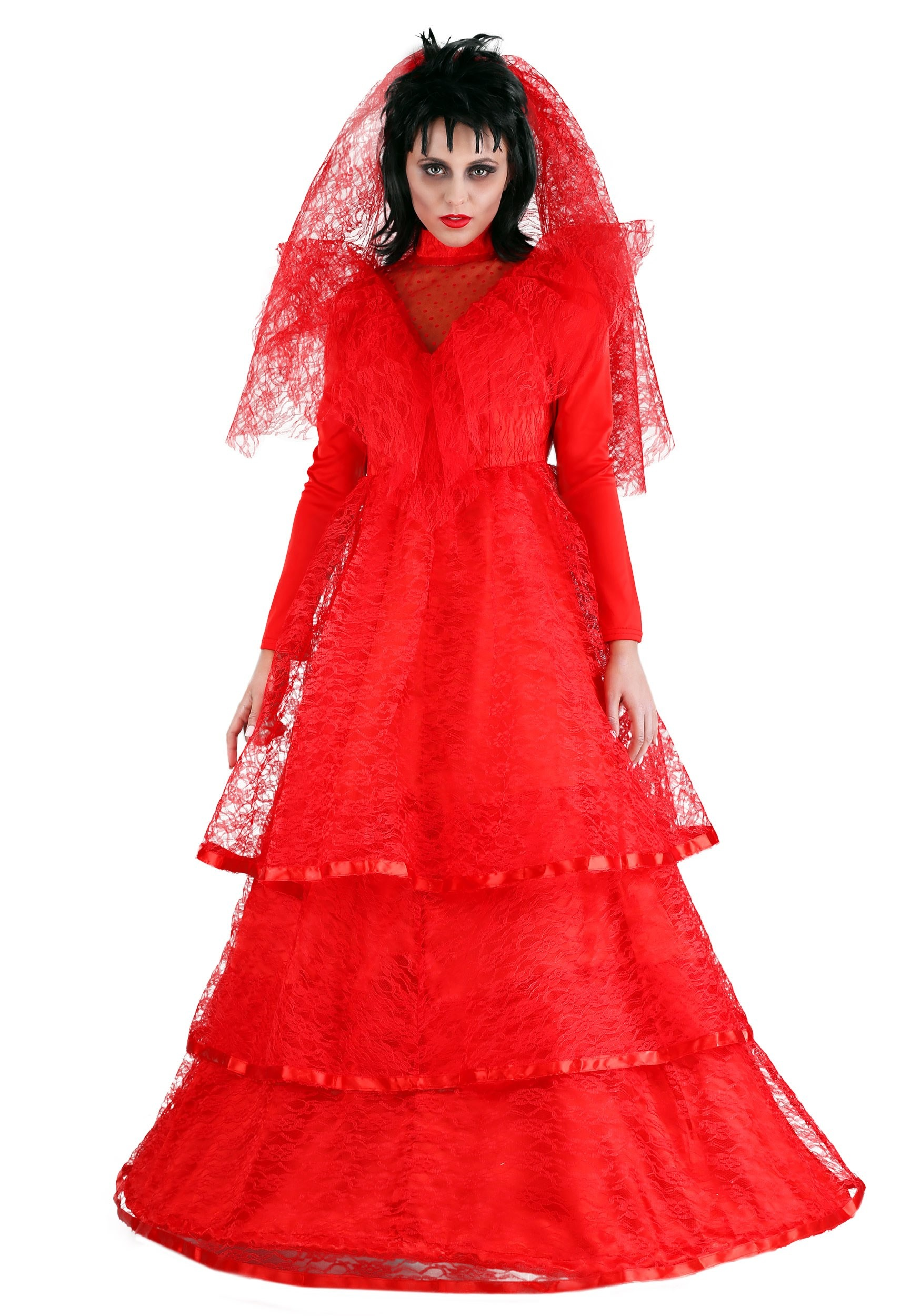 Red Gothic Wedding Dress Plus Size Costume | Red Ball Gown Dress