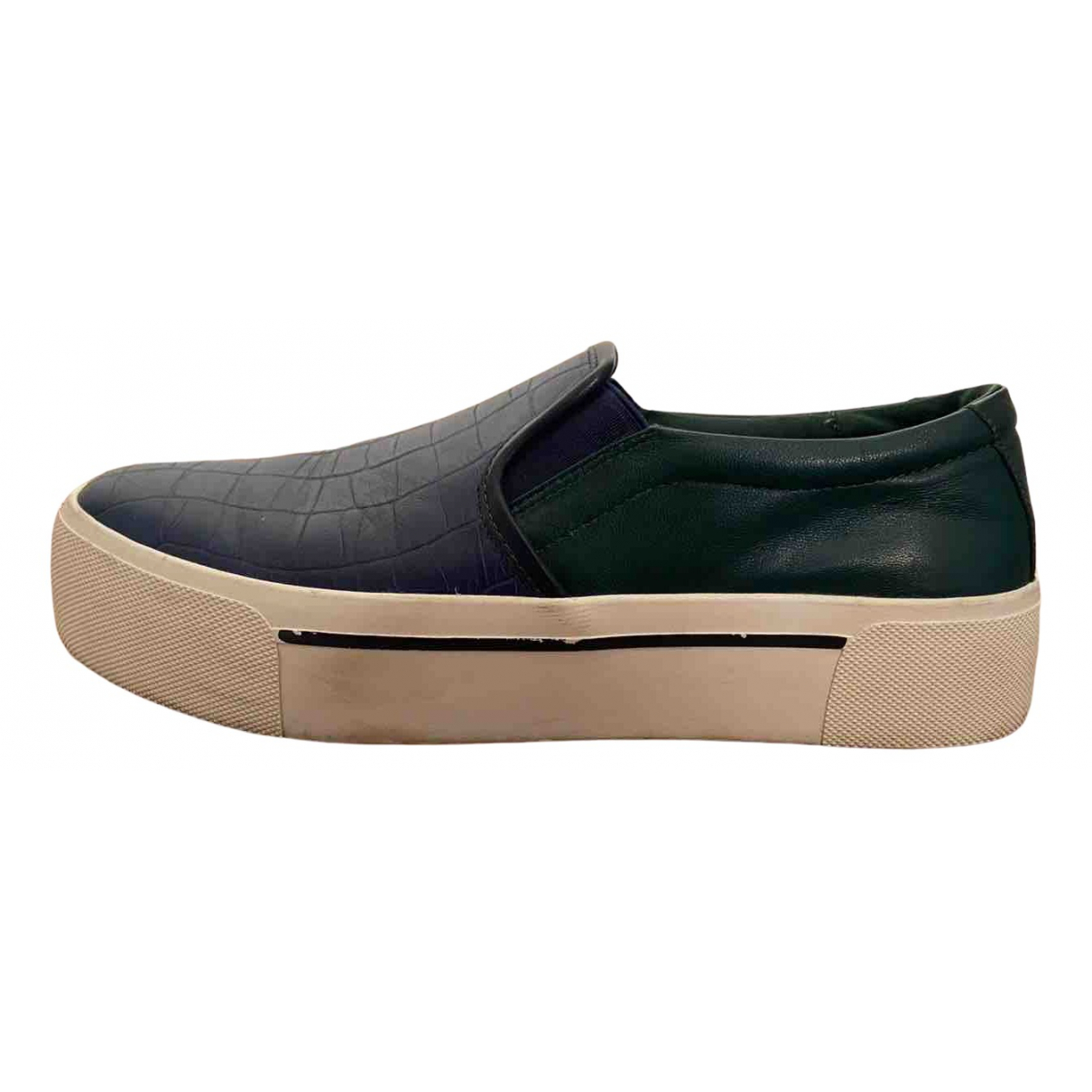 Dkny N Blue Leather Flats for Women 40 EU