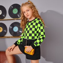 Girls Drop Shoulder Checked Pullover
