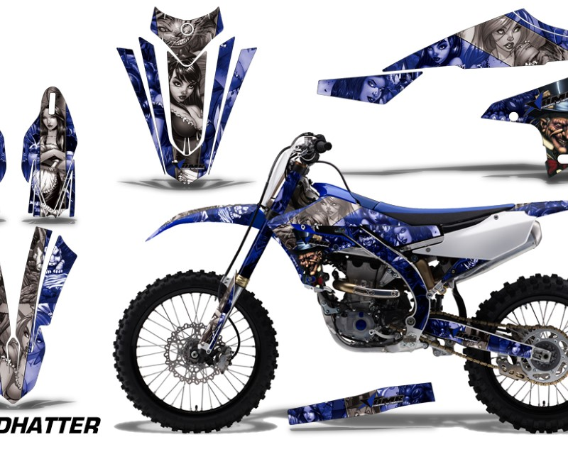 AMR Racing Dirt Bike Decal Graphics Kit MX Sticker Wrap For Yamaha YZ450F 2018+áHATTER SILVER BLUE