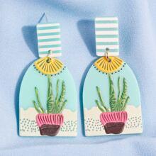 Plant Pattern Drop Earrings
