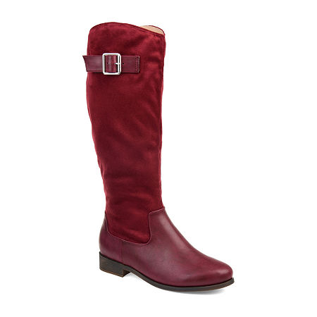 Journee Collection Womens Frenchy Stacked Heel Zip Riding Boots, 10 Medium, Red