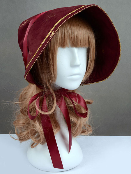 Milanoo Sweet Lolita Cap Swan Lake Burgundy Ribbon Bow Lolita Hat