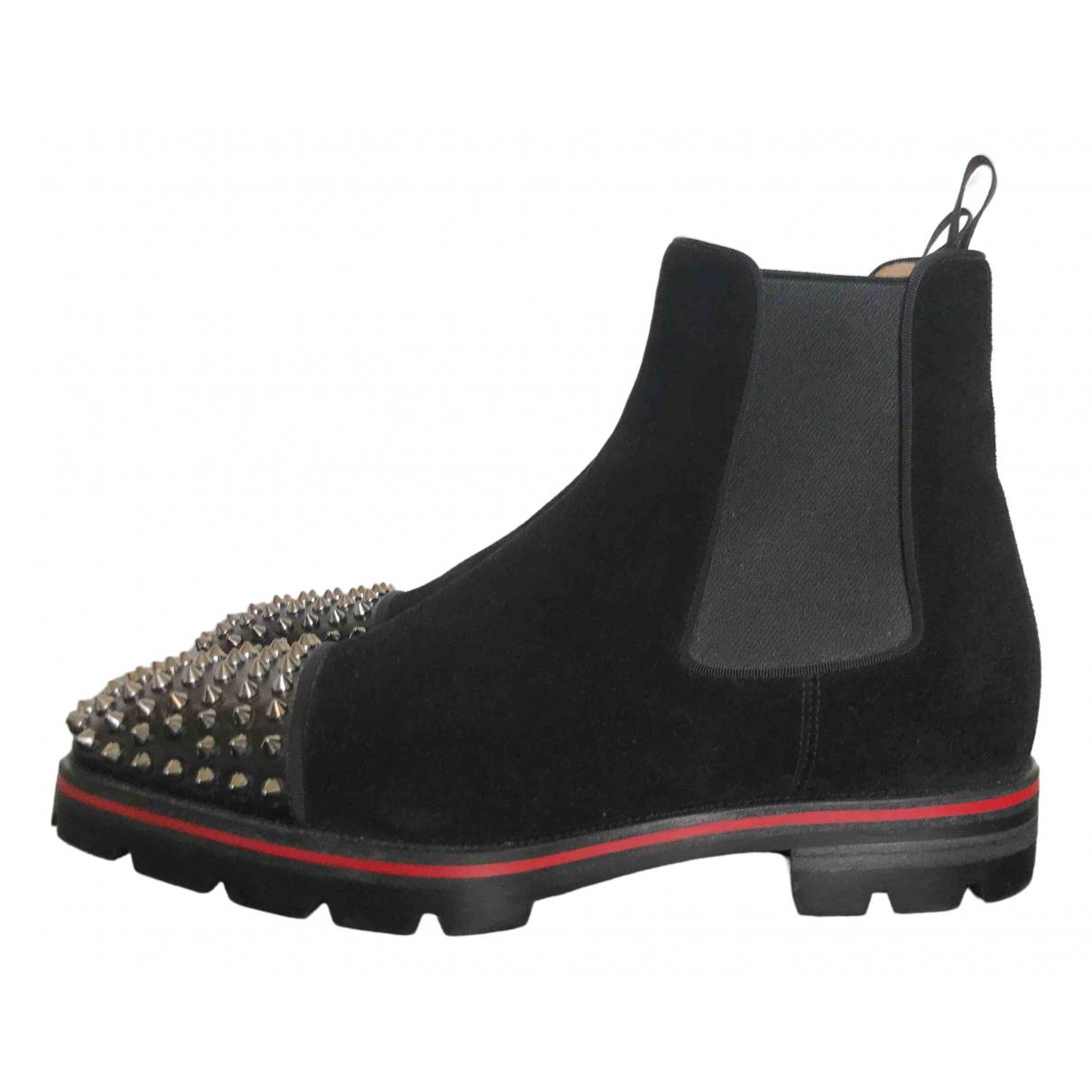 Christian Louboutin - Bottes.Boots   pour homme en suede - noir