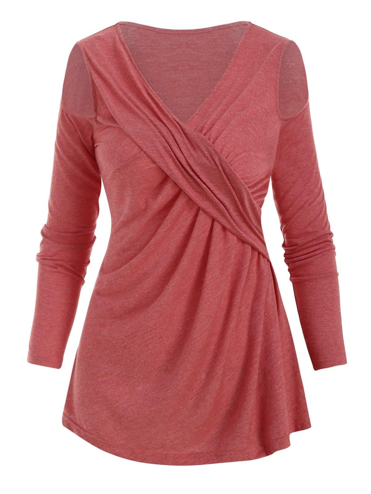 Open Shoulder V Neck Twisted T-shirt
