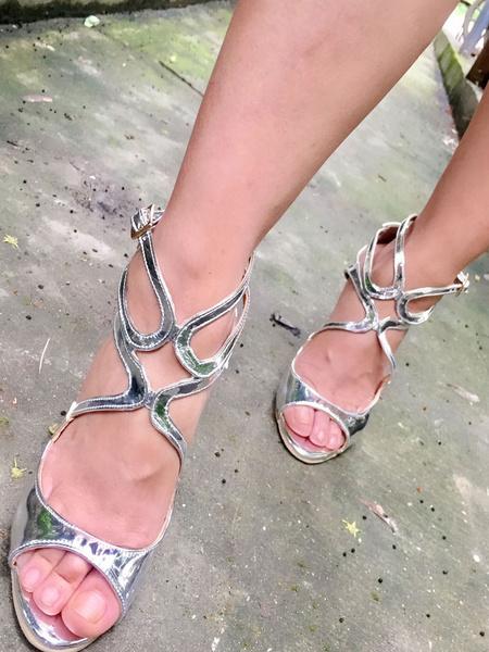 Milanoo Sandalias de tacon de stiletto para fiesta Sandalias de puntera abierta Color liso estilo moderno para mujer