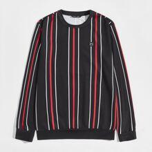 Pullover mit Karikatur Flicken und Streifen