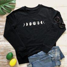 Sweatshirt mit Mond Muster und rundem Kragen