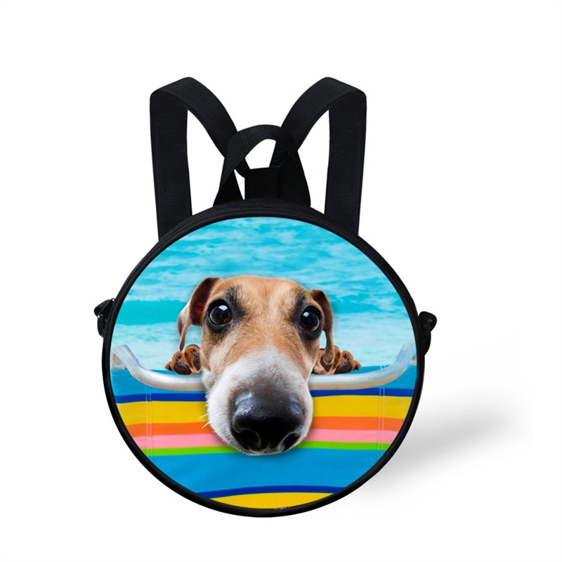Round 3D Swimming Pool Dog Pattern School Bag Shoulders Backpack