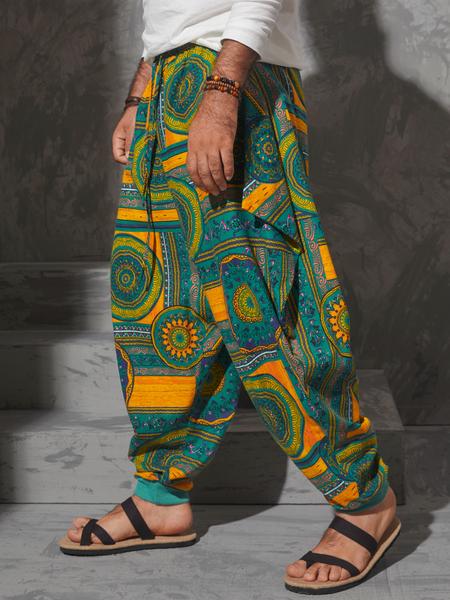 Yoins Men Ethnic Style Tribal Print Waist Loose Harem Pants