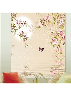 High Quality Blackout and Decorative Custom Digital Printing Roller Shades with Pink Buds and Butterfly Pattern