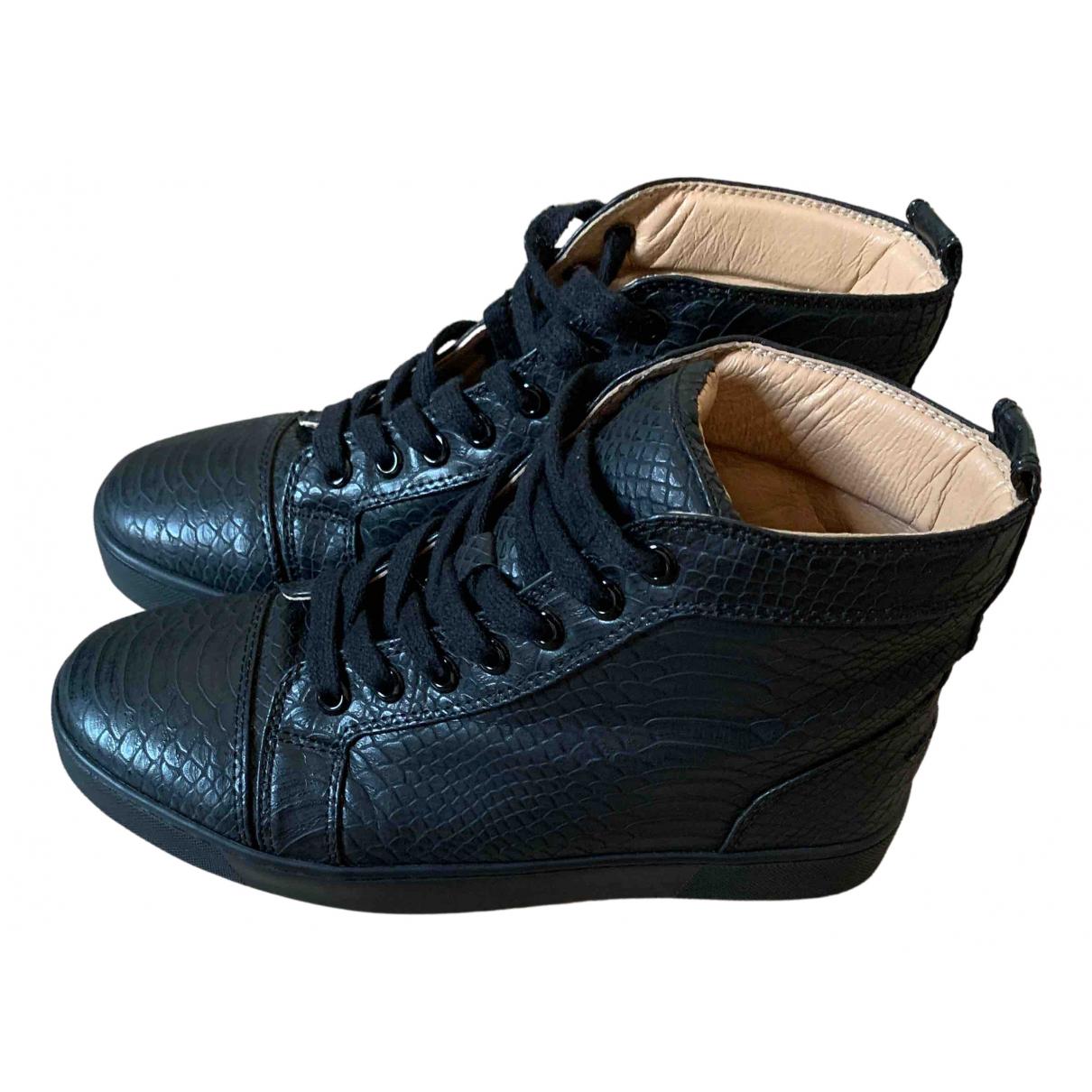 Christian Louboutin - Baskets   pour femme en cuir - noir