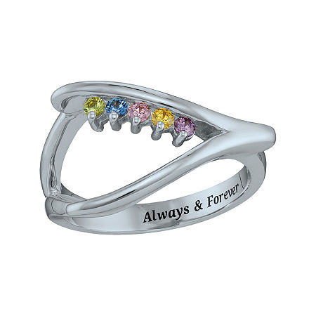 Personalized Birthstone Wishbone Ring, 8 1/2 , White