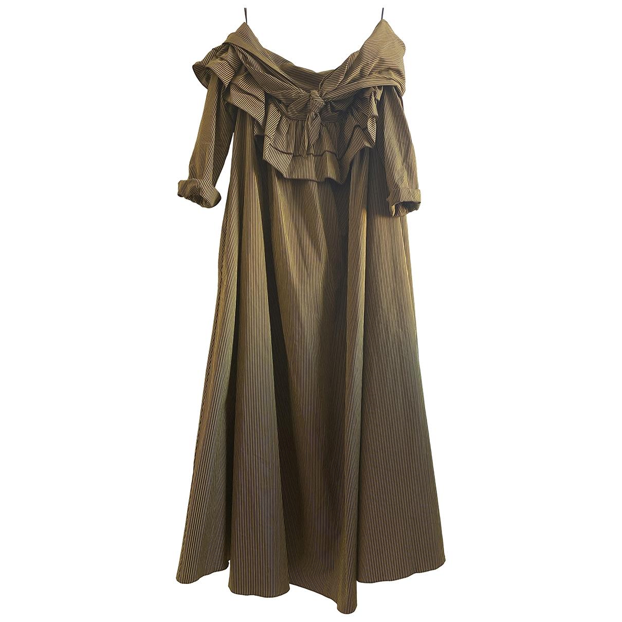 Isa Arfen - Robe   pour femme en coton - kaki