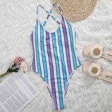 Einteiliger Badeanzug mit buntem Streifen