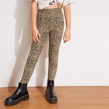 Maedchen Leopard Leggings mit elastischer Taille