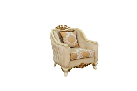 Angelica Collection Luxury Accent Chair  Hand Carved and Handcrafted  Pillows Included  Seat Cushion Reversible  in Beige and Dark Gold