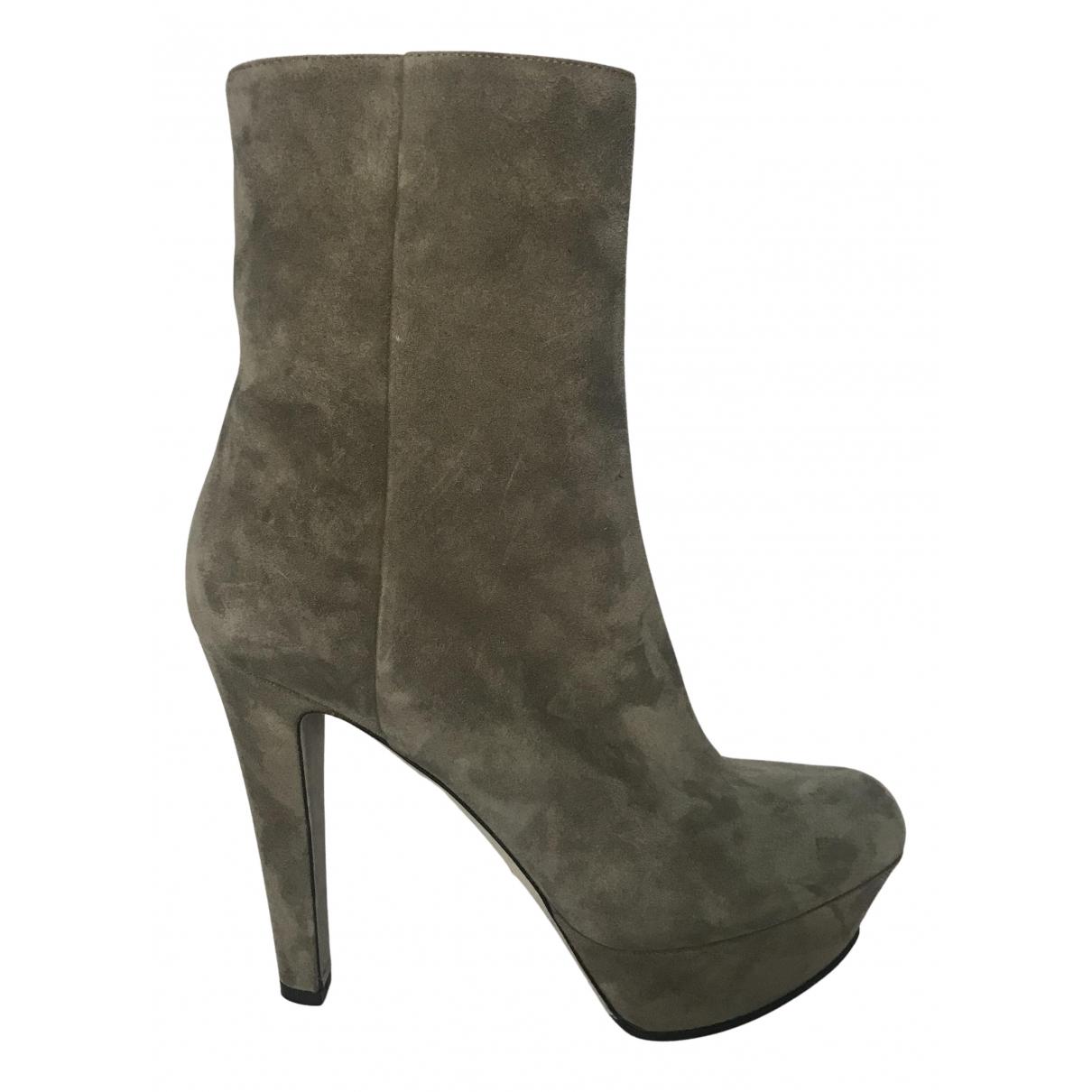 Sergio Rossi - Boots   pour femme en suede - gris